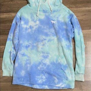 PINk tie dye blue hoodie